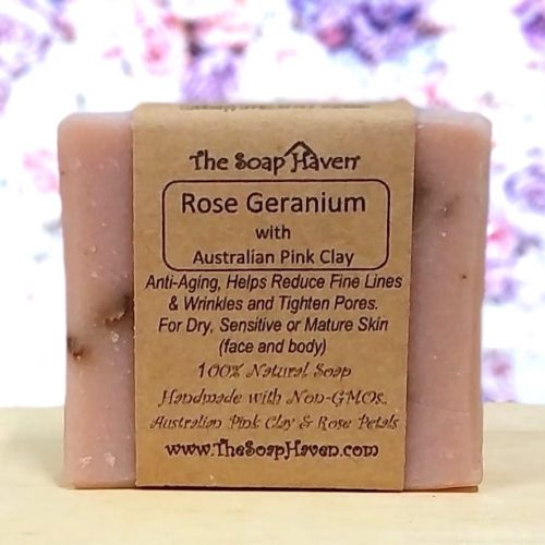 The Soap Haven Singapore Rose Geranium with Australian Pink Clay Soap Bar