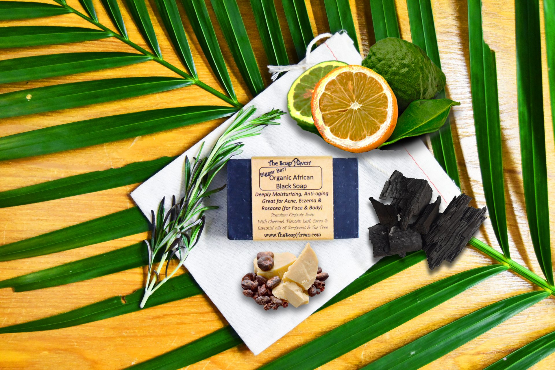 The Soap Haven Organic African Black Soap with ingredients