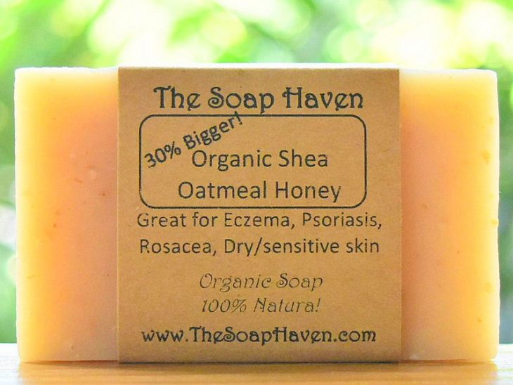The Soap Haven Organic Shea Butter Oatmeal Honey Soap Bar for eczema and psoriasis